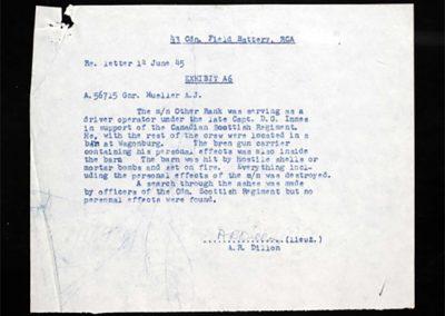 Gnr A.J. Mueller-letter-Lt. A.R. Dillon
