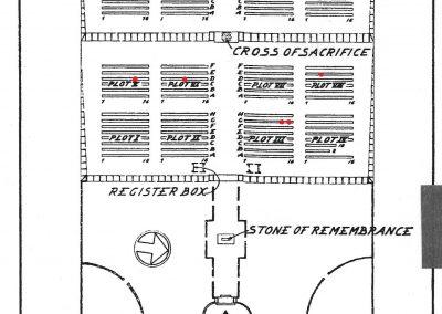 Holten Cemetery Plan red marked 12th Field Regt. KIA