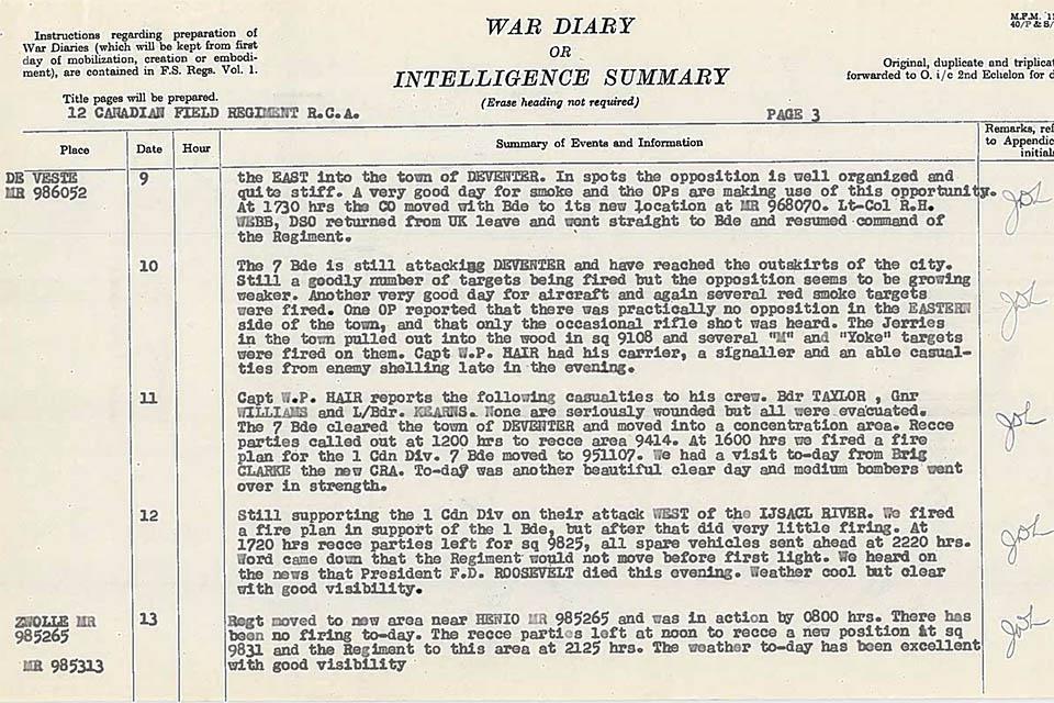 12 FIELD REGIMENT RCA WAR DIARY`S April 1945