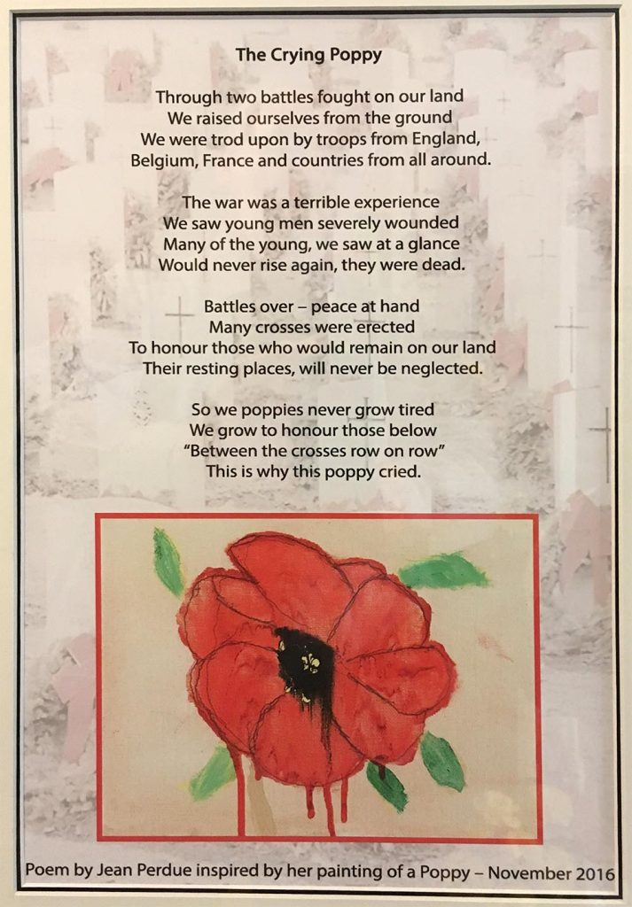 Remebrance- Poem by Jean Perdu inspired by her painting of a crying poppy November 2016