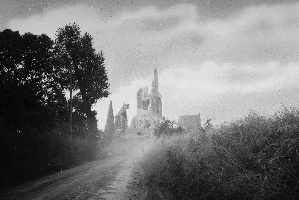 Destruction of tower, Buron, France -near Caen