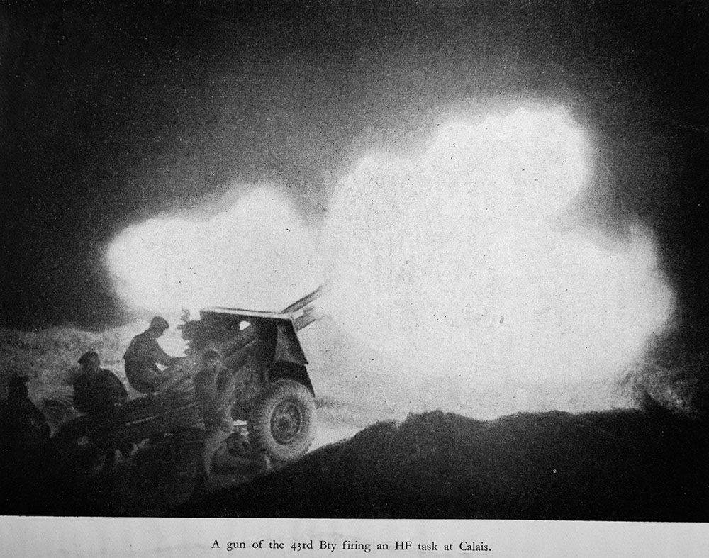 43rd Bty night firing in Calais, France, 1944