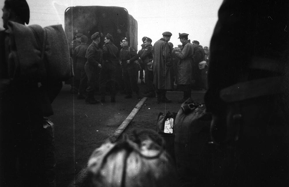 Leaving Calais Transit Camp, 12th Field Regt. 1944