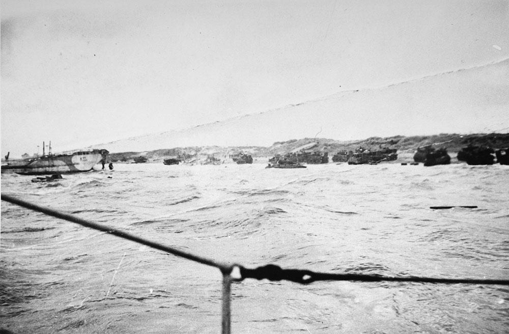 12th Field Regt M7 SP's landing Juno Beach June 6, 1944