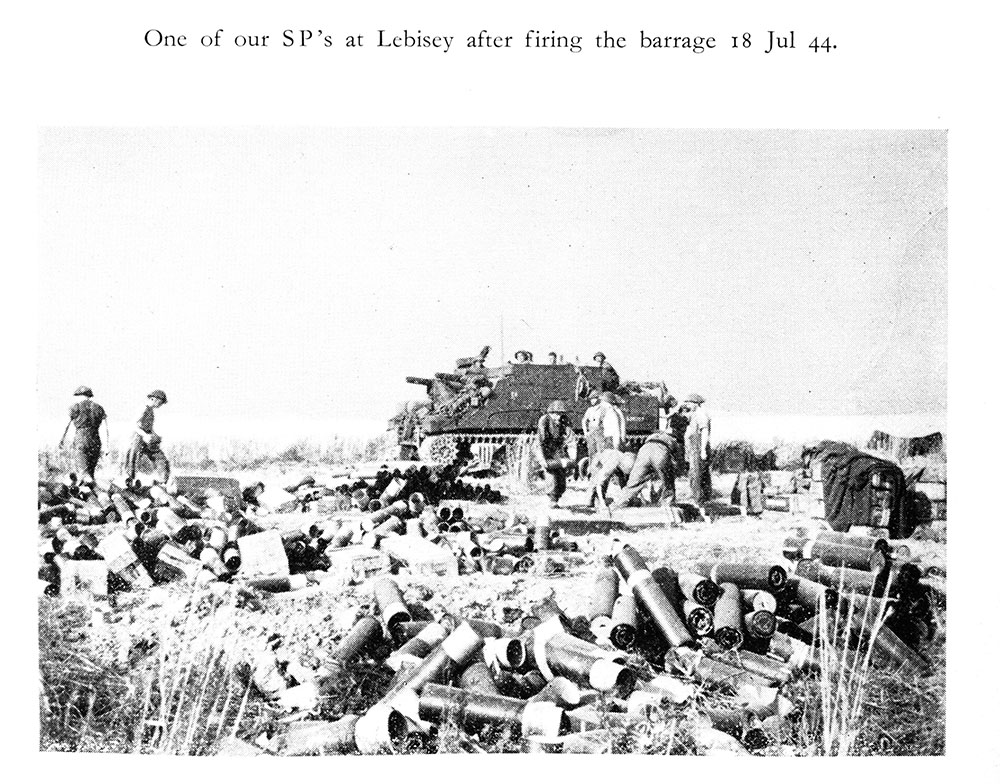 SP at Lebisey, France,  after firing the barrage, July 18 1944