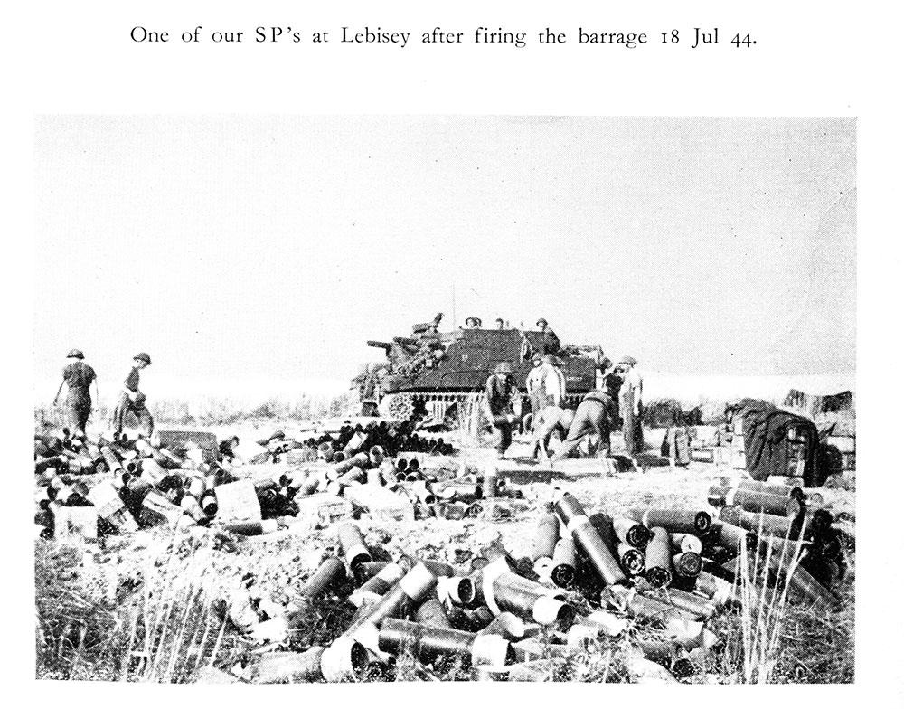 SP at Lebisey, France,  after firing the barrage, July 18 1944